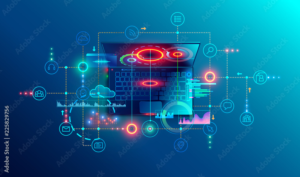 Fototapeta Programming or Software development abstract concept. Top view at screen laptop with business icons, programming language or fragments coding. Technology banner of Software developer company
