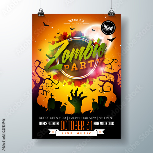 Fototapeta Halloween Zombie Party Flyer Illustration With Cemetery And Mysterious Moon On Orange Background Vector Holiday Design Template With