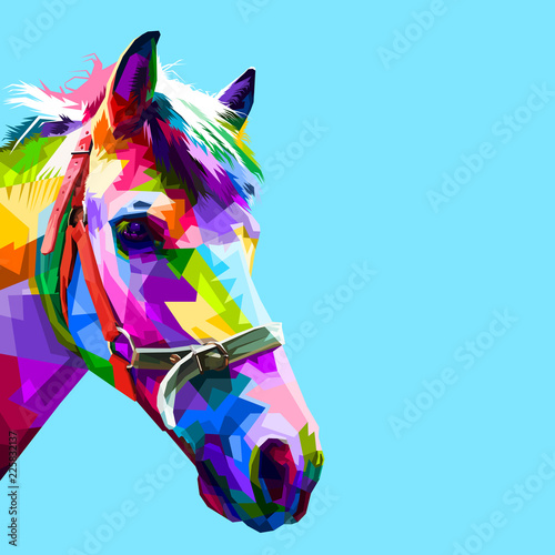 фотография  colorful horse head in geometric pattern pop art style
