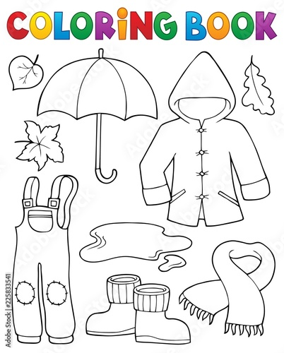 Poster For Kids Coloring book autumn objects set 1