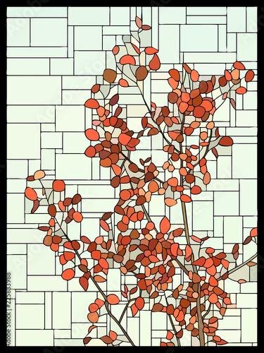 wektorowy-witrazu-okno-z-czerwonymi-liscmi-drzewo