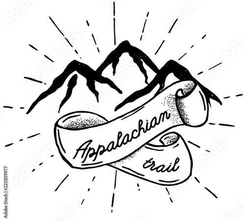 Hand drawn mountains silhouette icon with Appalachian trail Fotobehang