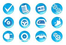 Set D'icônes De Contrôle Technique Automobile