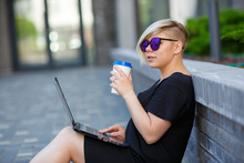 Young Woman Freelancing With Laptop, Realtor