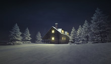 Illuminated Wooden Cottage At Winter Calm Landscape, Winter Season Outdoor Scenery 3D Illustration