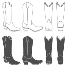 Set Of Black And White Illustrations With Cowboy Boots. Isolated Vector Objects On White Background.