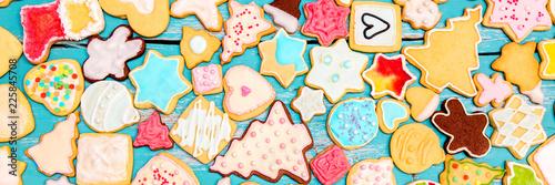 Panorama, feine Plätzchen oder Kekse für Weihnachten, Royal Icing und Zuckerguss