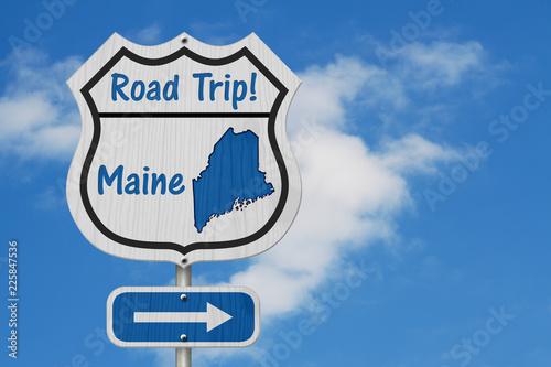 Keuken foto achterwand Verenigde Staten Maine Road Trip Highway Sign