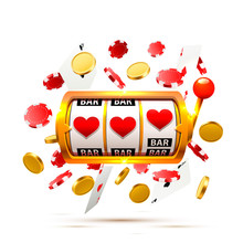 Big Win Slots Heart Banner Casino On The White Background. Vector Illustration