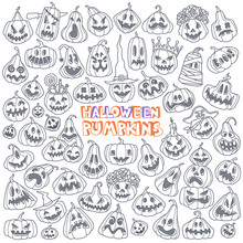 Jack-o'-lantern Doodle Set. Ha...