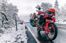 Touring Motorcycle Parked On Roadside In Winter, Placerville, California, USA