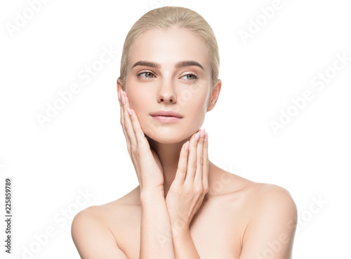 Fotografia Healthy skin face closeup woman isolated on white female with natural makeup blo