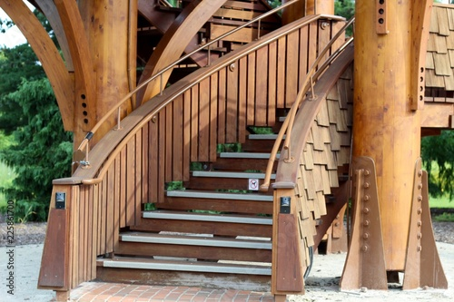 Photo Stands Stairs The wood spiral staircase twisting upwards.