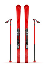 Mountain Ski And Stick Vector ...