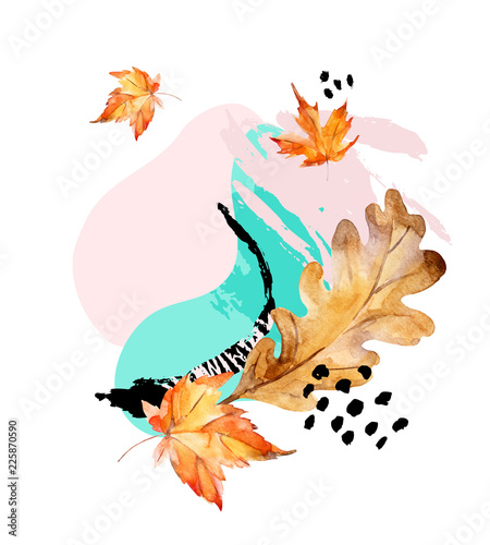 Abstract composition of autumn oak, maple leaves, fluid shapes, minimal grunge element, doodle
