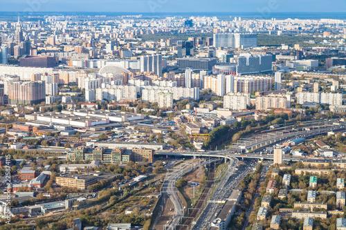 Fotobehang Aziatische Plekken above view of Railway Circle and north of Moscow