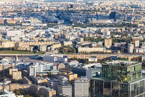 Keuken foto achterwand Aziatische Plekken above view of center of Moscow with embankments
