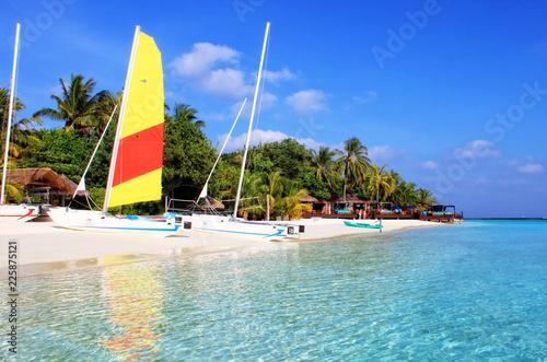 Poster Oceanië Beautiful tropical paradise island, the Maldives