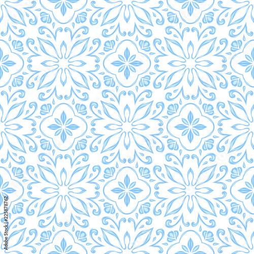 Türaufkleber Künstlich Portuguese azulejo ceramic tile pattern.