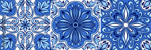 Portuguese azulejo ceramic tile pattern. Fototapet