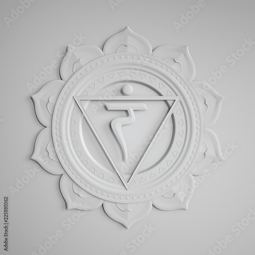 Obraz na plátne abstract white embossed paper Manipura chakra symbol, 3d modern illustration