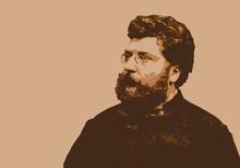 Portrait De George Bizet, Célèbre Musicien Et Compositeur Français Du 19ème Siècle.
