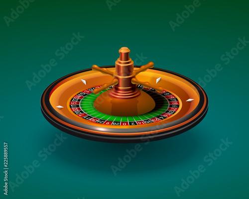Casino roulette object realistic on the green background Fototapeta