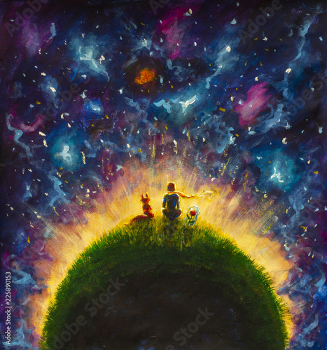 Fotografie, Obraz Original oil painting Little prince and fox and Red Rose sitting on grass under starry sky