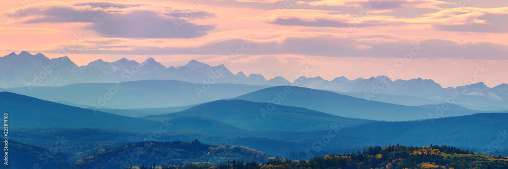 Fototapety, obrazy: Wide angle panorama autumn forest,misty hills mountain tops in pink dawn