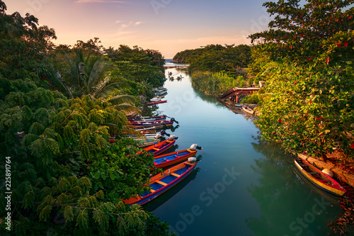 Fishermen boats docked on the White River in St Ann, Jamaica. Poster Mural XXL