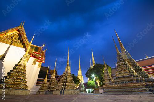 Deurstickers Bedehuis Famous landmark of Bangkok, Thailand. The beautiful agritecture inside Wat Pho or Wat Phra Chetuphon, Temple of the Reclining Buddha.