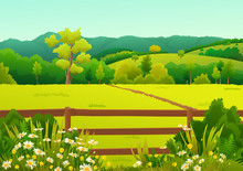 Countryside Landscape With Woo...