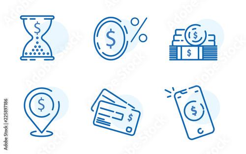 Cuadros en Lienzo Payment methods, financial items set, zero percent commission fee, credit card m