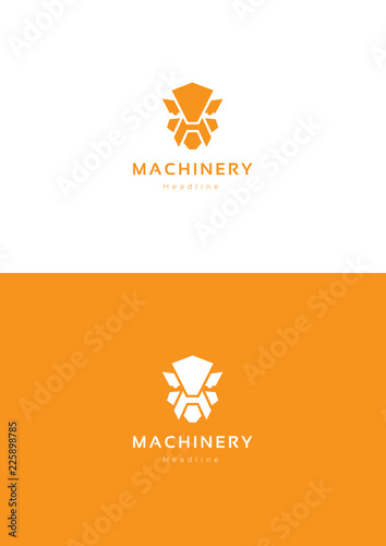 Robot machinery logo template. фототапет