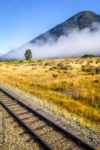 Foto op Plexiglas Oceanië Railway in Mountain fields landscape, New Zealand
