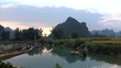 River view and karst near Ban Gioc, Cao Bang province, Vietnam, time-lapse