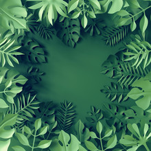 3d Render, Paper Tropical Leaves, Jungle Decor, Monstera Palm, Green Background, Blank Space For Text, Banner Template, Digital Illustration
