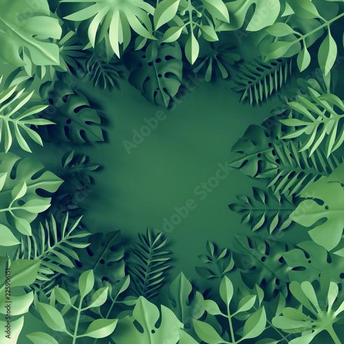 Fototapeta 3d render, paper tropical leaves, jungle decor, monstera palm, green background, blank space for text, banner template, digital illustration obraz