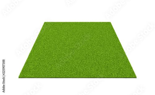 Valokuva  3d rendering of an isolated sports field with green grass on a white background