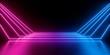 Leinwanddruck Bild - 3d render, abstract minimal background, glowing lines, blank space, pink blue neon lights, ultraviolet spectrum, virtual reality corridor, laser show