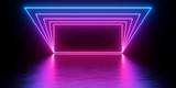 Fototapeta Do przedpokoju - 3d render, abstract minimal background, glowing lines tunnel, arch, corridor, pink blue neon lights, ultraviolet spectrum, virtual reality, laser show
