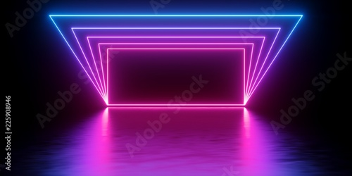 3d render, abstract minimal background, glowing lines tunnel, arch, corridor, pi Wallpaper Mural