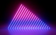 canvas print picture - 3d render, abstract minimal background, glowing lines, triangle shape, pink blue neon lights, ultraviolet spectrum, laser show