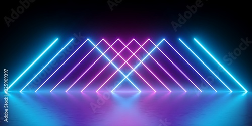 3d render, neon lights, abstract background, glowing lines, virtual reality, vio Tableau sur Toile