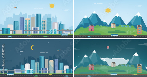Foto op Canvas Pool Modern city with suburban landscape. Building and architecture set. Modern city and suburb. Vector
