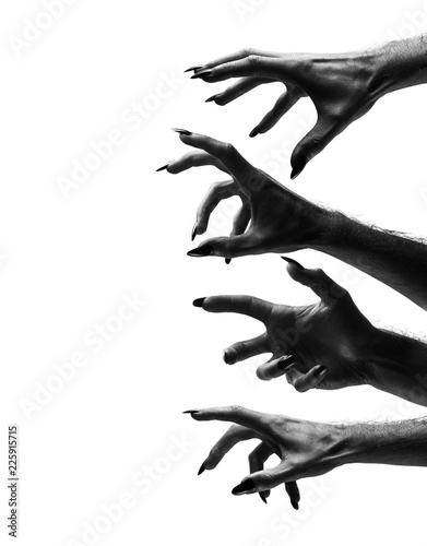 Photographie Black creepy halloween monster hand with long nails