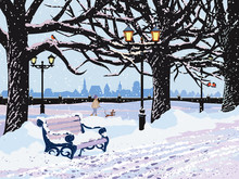 Vector Winter Landscape With Snowy Park In The Evening