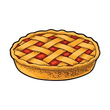 Whole Homemade Apple Pie. Vect...
