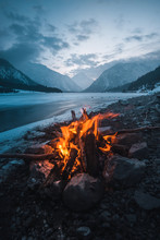 Winter Campfire In The Top Of...