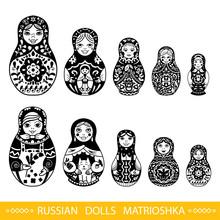 Set Of Russian Traditional Nested Dolls (matryoshka).